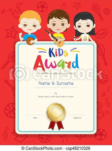 Portrait colorful kids award diploma certificate template in cartoon ...