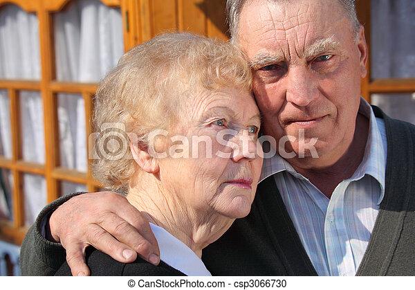portrait, couple, closeup, personnes agées - csp3066730