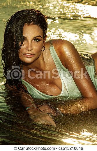 portrait, dame, joli, water. - csp15210046