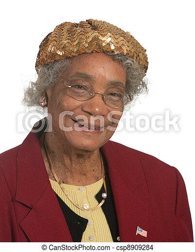 Portrait elderly lady - csp8909284