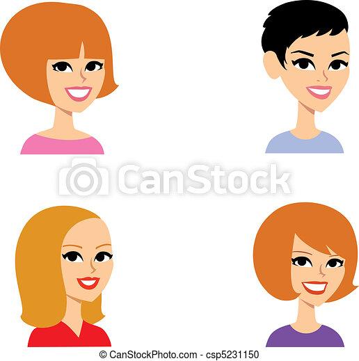 portrait, ensemble, dessin animé, avatar - csp5231150