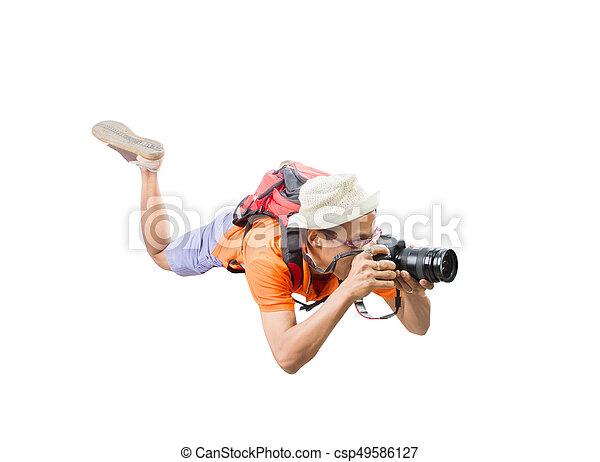 Portrait Face Of Young Man Take A Photography By Dslr Camera Floating Mid Air Isolated White