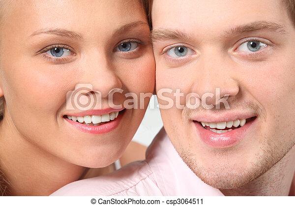 portrait, faces, closeup, séduisant, couple - csp3064511