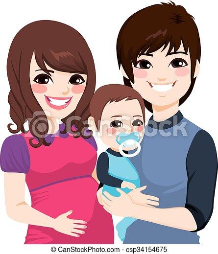 portrait, famille asiatique, pregnant - csp34154675