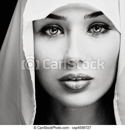 portrait, femme, expressif, sensuelles, figure - csp4599727