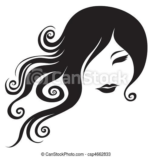 portrait, femme, longs cheveux - csp4662833