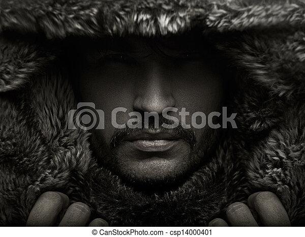 portrait, fourrure, jeune, capuchon, homme - csp14000401