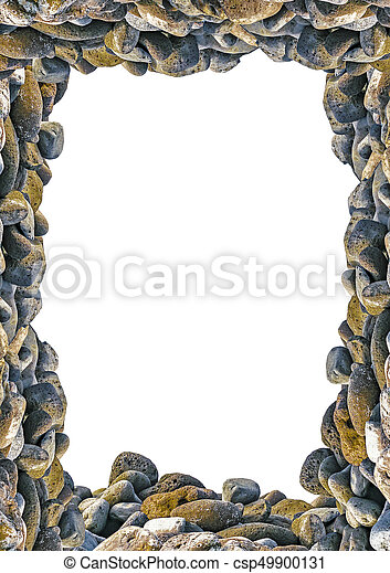 Portrait frame with rocks borders. White frame background with rock ...