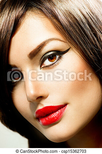 portrait., frau, aufmachung, mode, schoenheit - csp15362703