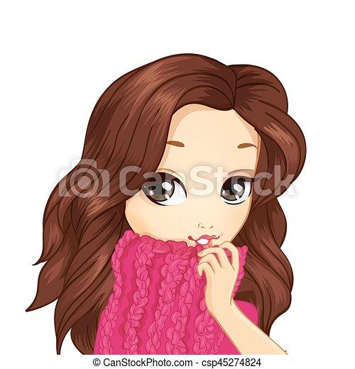 Portrait Girl In Pink Sweater - csp45274824