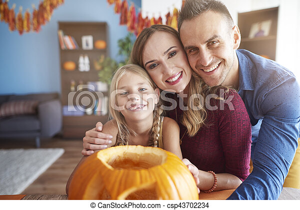 portrait, halloween, famille - csp43702234