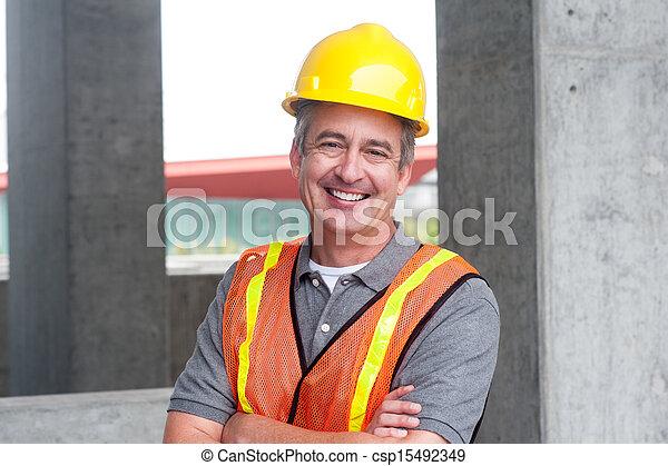 portrait, heureux, ouvrier, construction - csp15492349