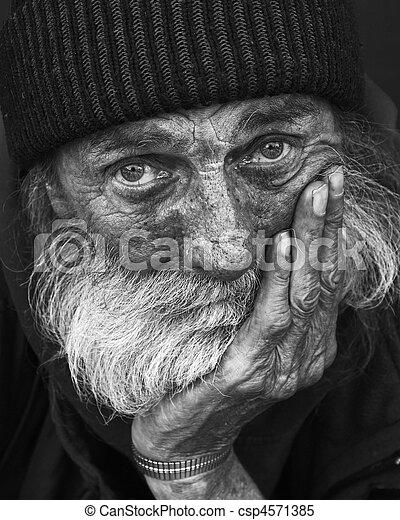 portrait-homeless, 哀愁を秘めた, 人 - csp4571385
