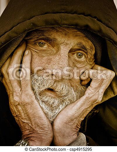 portrait-homeless, 哀愁を秘めた, 人 - csp4915295