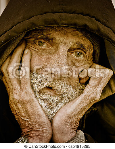 portrait-homeless, songeur, homme - csp4915295