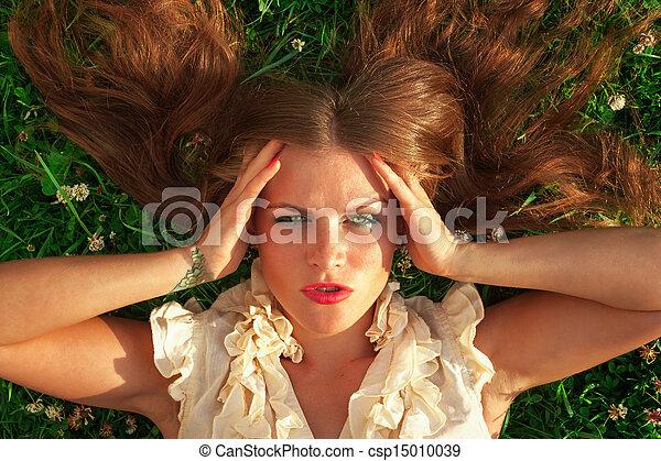 portrait, jeune, parc, femme, beau - csp15010039