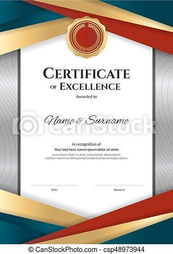 Portrait Luxury Certificate Template With Elegant Border Frame