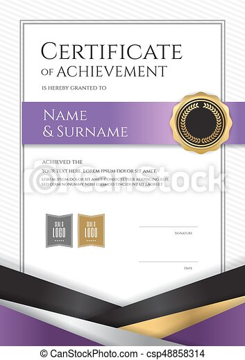 portrait luxury certificate template with elegant border frame