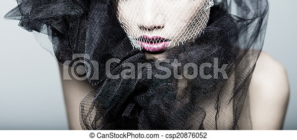 portrait, modèle, mode, studio, détail - csp20876052