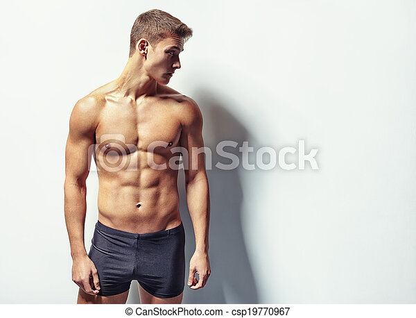 portrait, musculaire, homme, jeune, sexy - csp19770967