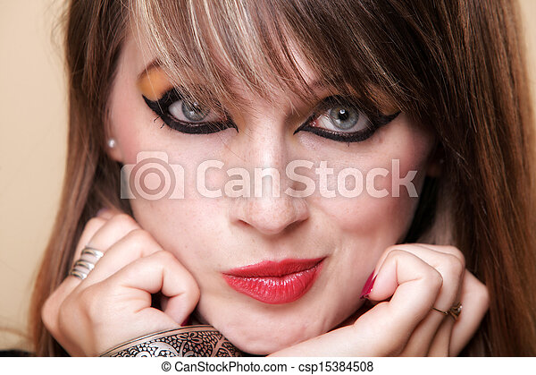 portrait naughty woman in Cleopatra makeup - csp15384508