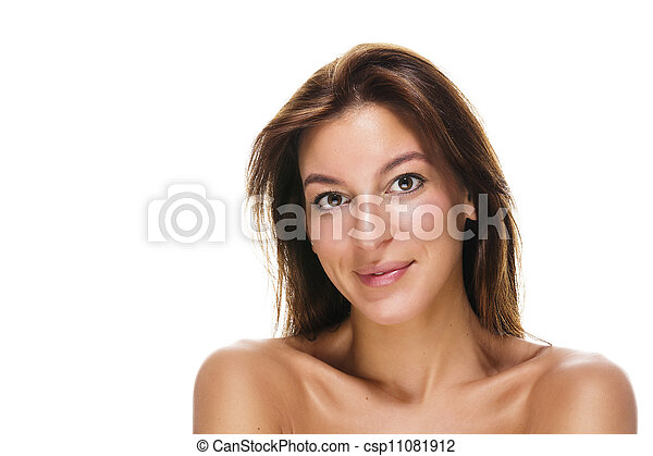 portrait of a beautiful brunette smiling woman on white background - csp11081912
