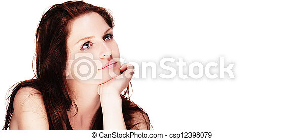 portrait of a beautiful dreaming woman on white background - csp12398079