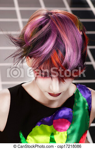 Portrait of a beautiful girl with dyed hair, professional hair coloring - csp17218086