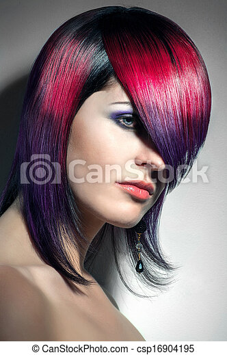 portrait of a beautiful girl with dyed hair, professional hair coloring - csp16904195