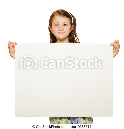 Portrait of a beautiful little girl holding blank sign with room for text Isolated on white background - csp10358314