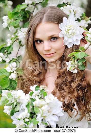 portrait of a beautiful woman in spring - csp13742975