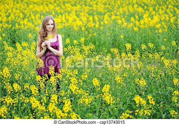 portrait of a beautiful woman in spring - csp13743015