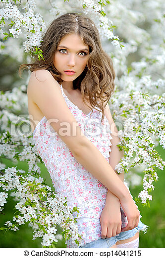 portrait of a beautiful woman in spring - csp14041215