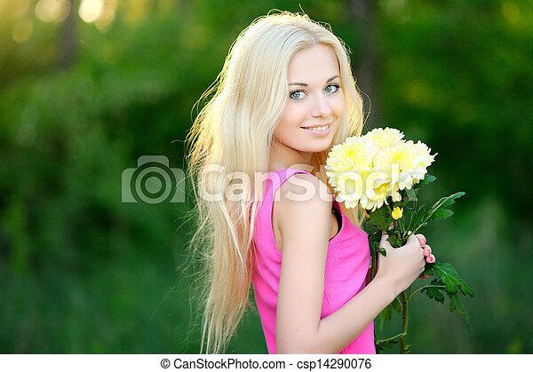 portrait of a beautiful woman in spring - csp14290076
