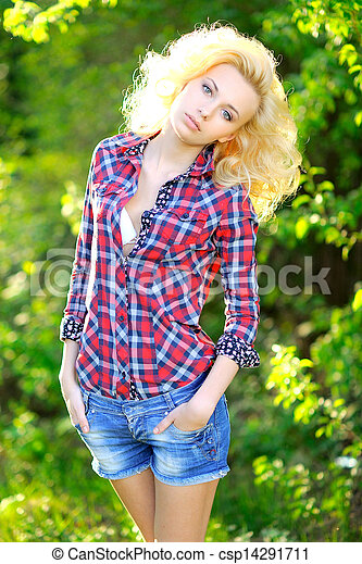 portrait of a beautiful woman in spring - csp14291711