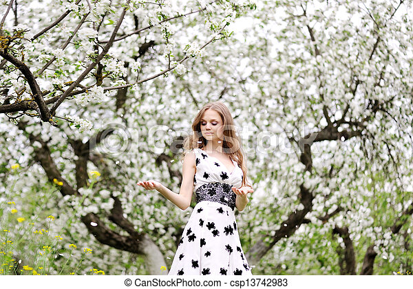 portrait of a beautiful woman in spring - csp13742983