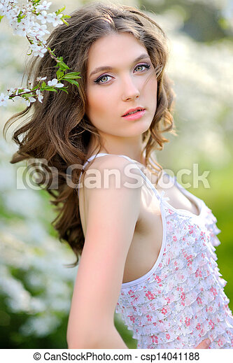 portrait of a beautiful woman in spring - csp14041188
