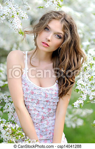 portrait of a beautiful woman in spring - csp14041288
