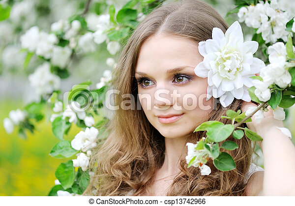 portrait of a beautiful woman in spring - csp13742966