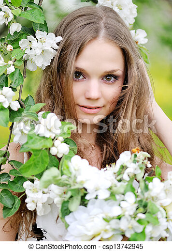 portrait of a beautiful woman in spring - csp13742945