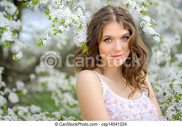 portrait of a beautiful woman in spring - csp14041224