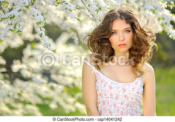 portrait of a beautiful woman in spring - csp14041242
