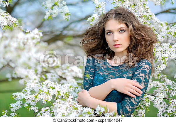 portrait of a beautiful woman in spring - csp14041247