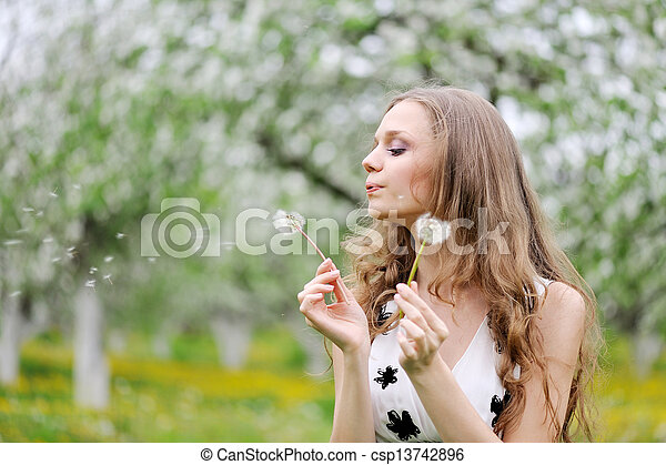 portrait of a beautiful woman in spring - csp13742896