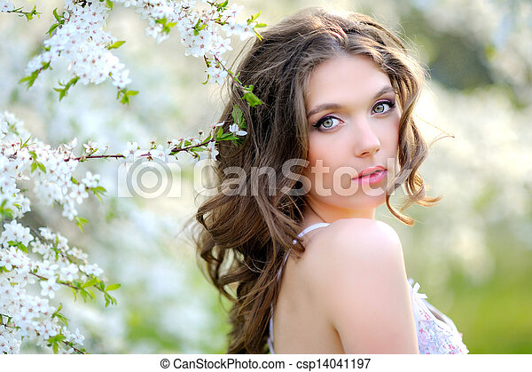 portrait of a beautiful woman in spring - csp14041197