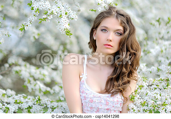 portrait of a beautiful woman in spring - csp14041298