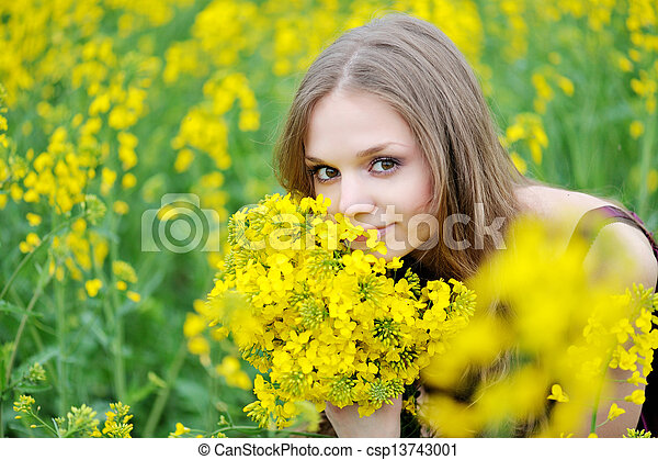 portrait of a beautiful woman in spring - csp13743001