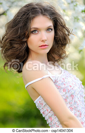 portrait of a beautiful woman in spring - csp14041304