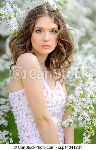 portrait of a beautiful woman in spring - csp14041231