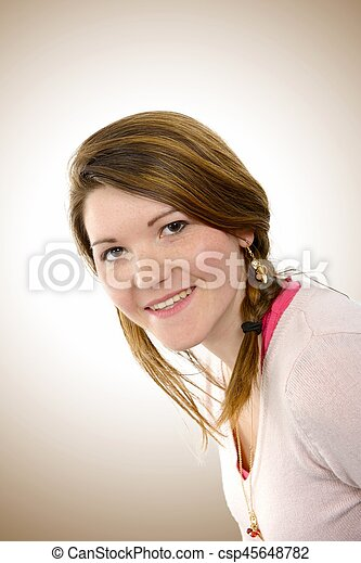 Portrait of a beautiful young woman - csp45648782